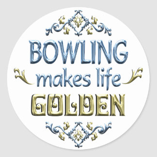 BOWLING is Golden Classic Round Sticker