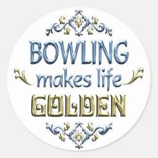 BOWLING is Golden Round Sticker