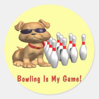Bowling Is My Game Puppy Round Sticker