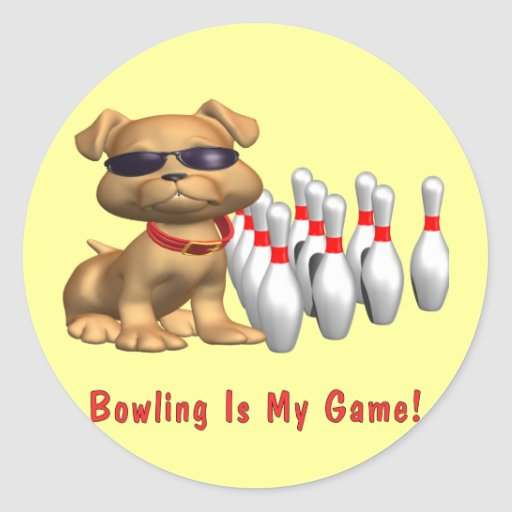 Bowling Is My Game Puppy Round Stickers