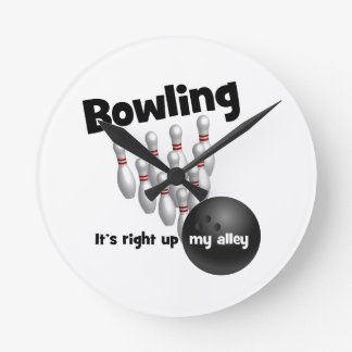 Bowling It's Right Up My Alley Round Wallclock