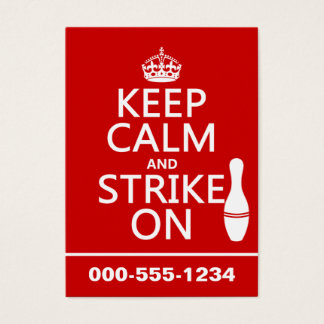 Bowling - Keep Calm and Strike On Business Card