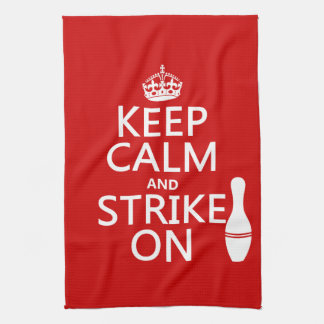 Bowling - Keep Calm and Strike On Tea Towel