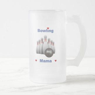 Bowling Mama Hearts Frosted Glass Mug