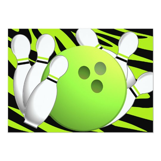 Bowling Neon Green and Zebra Card