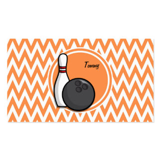Bowling Orange and White Chevron Business Card Template