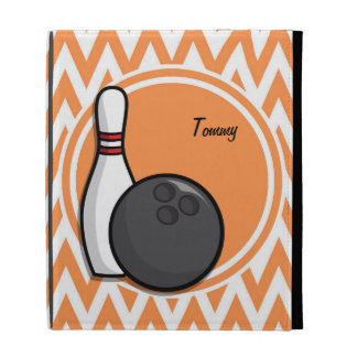 Bowling Orange and White Chevron iPad Folio Cases