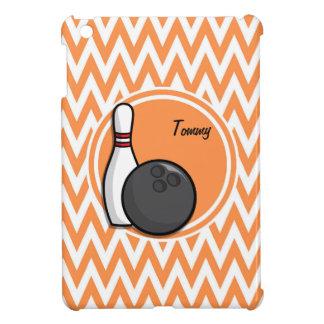 Bowling Orange and White Chevron Case For The iPad Mini