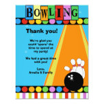 BOWLING PARTY 4x5 Flat Thank you note 11 Cm X 14 Cm Invitation Card
