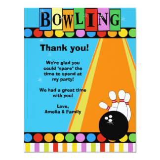 """BOWLING PARTY 4x5 Flat Thank you note 4.25"""" X 5.5"""" Invitation Card"""