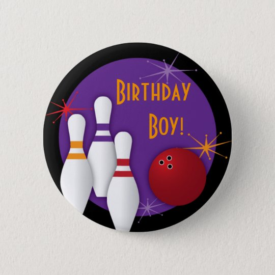Bowling Party Birthday Button