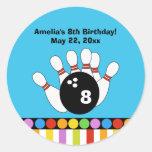 Bowling Party Birthday Custom Favour Sticker
