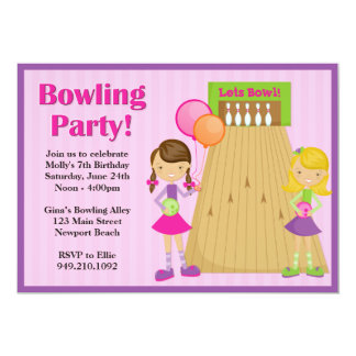 "Bowling Party Birthday Invitation for Girl 5"" X 7"" Invitation Card"