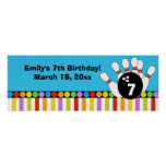 Bowling Party Dots & Stripes Retro Birthday Banner