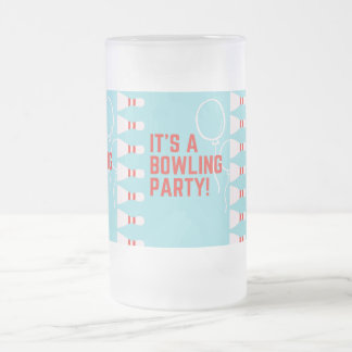 bowling party frosted glass beer mug