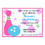 Bowling Party -Girl 5x7 Paper Invitation Card