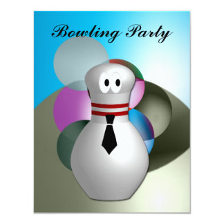 """Bowling  Party 4.25"""" X 5.5"""" Invitation Card"""