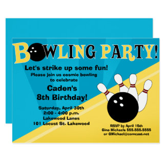 Bowling Party Invitation - Blue and Yellow