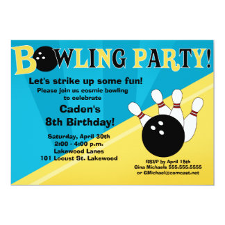 "Bowling Party Invitation - Blue and Yellow 5"" X 7"" Invitation Card"