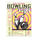 Bowling Party Invitation - Pink 13 Cm X 18 Cm Invitation Card
