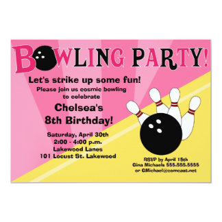 Bowling Party Invitation -Pink and Yellow