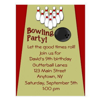 Bowling Party Invitation Postcard