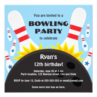 Bowling party invitation with bowling ball blue