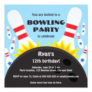 """Bowling party invitation with bowling ball, blue 5.25"""" square invitation card"""