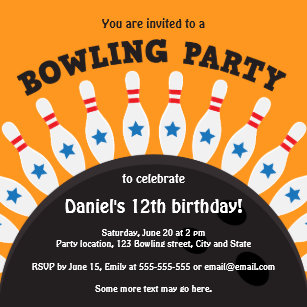 girls bowling party invitations announcements zazzle uk