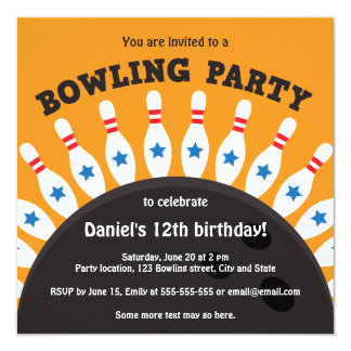 """Bowling party invite with bowling ball and pins 5.25"""" square invitation card"""