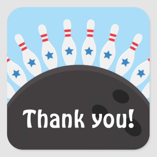 Bowling party thank you stickers, blue version