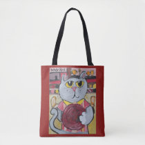 Bowling Pet Folk art Tote Bag