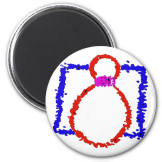 BOWLING PIN 6 CM ROUND MAGNET