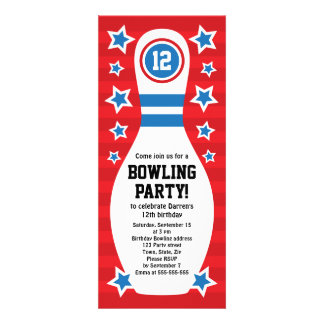 Bowling pin birthday party invitation with stars