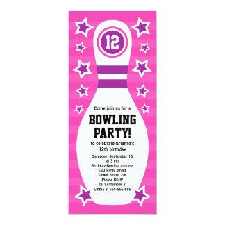 "Bowling pin birthday party invitation with stars 4"" x 9.25"" invitation card"