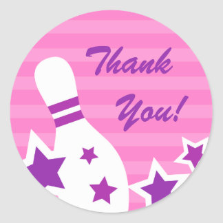 Bowling pin birthday party thank you stickers