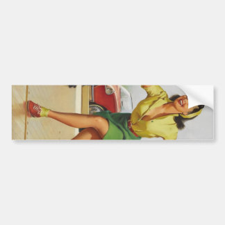 Bowling Pin Up Girl Bumper Sticker