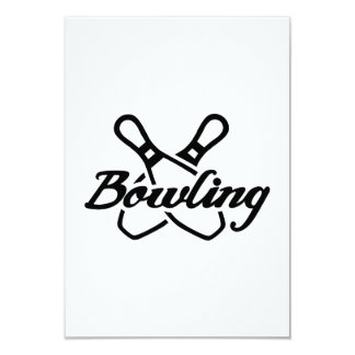 "Bowling pins 3.5"" x 5"" invitation card"