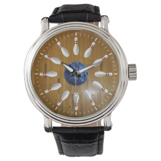 bowling pins and ball leather watch