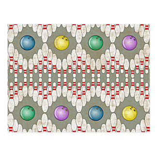 BOWLING PINS & BALLS POSTCARD