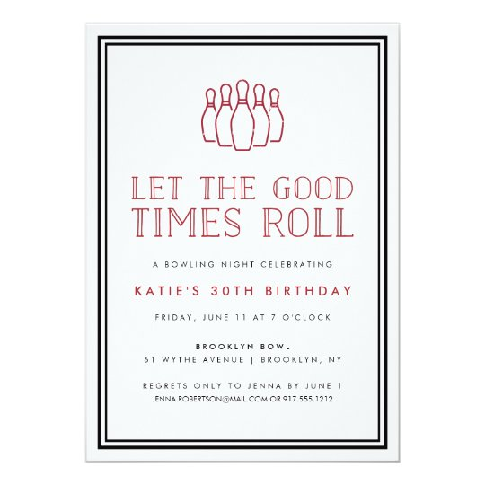 Bowling Pins Birthday Party Invitation