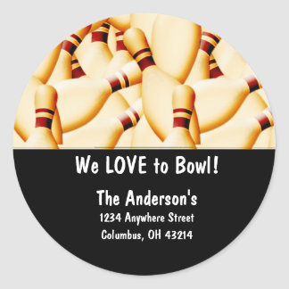 Bowling Pins Design 2 Address Labels Round Sticker