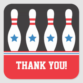 Bowling pins with stars Thank You stickers