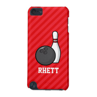 Bowling; Scarlet Red Stripes iPod Touch (5th Generation) Cases