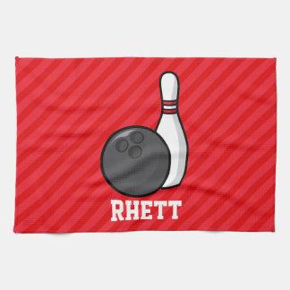 Bowling; Scarlet Red Stripes Tea Towel