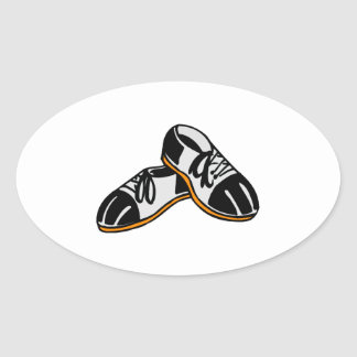 bowling shoes cartoon graphic oval sticker
