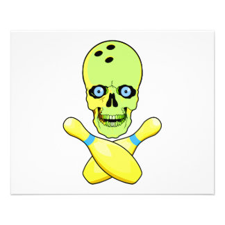 bowling skull and cross pin yellow green 11.5 cm x 14 cm flyer