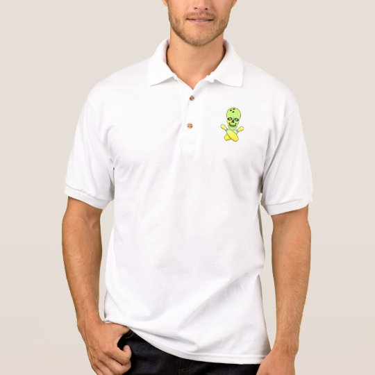 bowling skull and cross pin yellow green polo