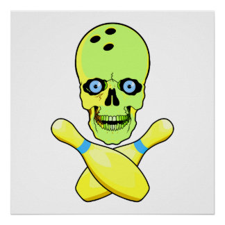 bowling skull and cross pin yellow green poster