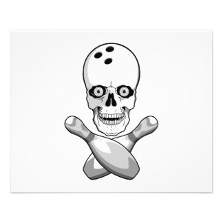 bowling skull and cross pins grayscale design 11.5 cm x 14 cm flyer
